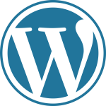 The blue logo of WordPress, the world's most popular CMS