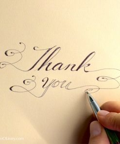 """Hand writing """"Thank you"""" in Instant Calligraphy with flourishes"""